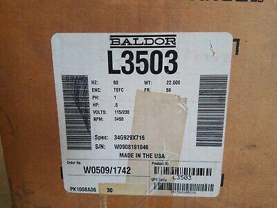 Baldor Electric L3503 Ac Motors 12 Hp 3450 Rpm 115230v Plastic Sealed