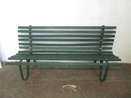 D19025 Large Vintage Timber Green Outdoor Bench Seatpine outdoor bench seat with arms   Lounging   Relaxing Furniture  . Outdoor Bench Seats Gumtree. Home Design Ideas