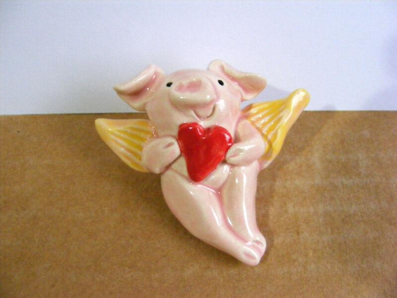 Little Guys Cupid Pig Miniature Animal Figurine Cindy Pacileo Pottery Valentine