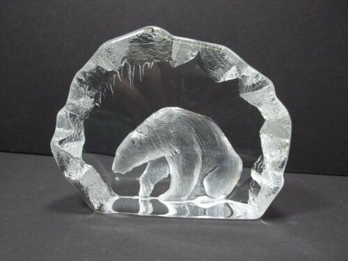 MATS JONASSON  SWEDEN POLAR BEAR  SIGNED LEAD CRYSTAL  ART GLASS ICE CAVE