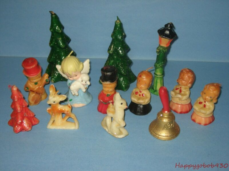 Vintage Christmas Gurley Novelty Candles Choir Boys Deers Bell Angel Lot of 13