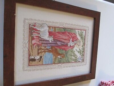 Completed Framed Cross Stitch Jesus as Shepherd Sheet Bird Rabbit Wood Glass