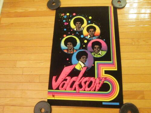 "Vintage 1975 MICHAEL "" JACKSON 5"" VELVET BLACK LIGHT POSTER DYNAMIC PUB Co 32x21"