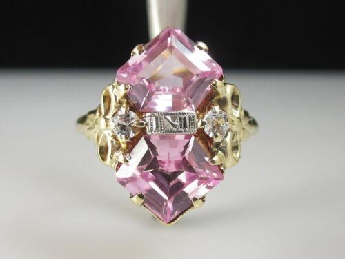 Antique Ring Estate Vintage Retro Pink Sapphire White 10K Yellow White Gold