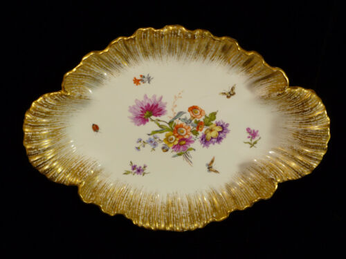 SIGNED 19TH CENTURY KPM BERLIN HAND PAINTED FLORAL & BUTTERFLY CENTERPIECE BOWL