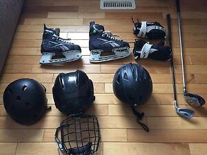 Youth hockey skates, lacrosse gloves,helmets,driver&short iron