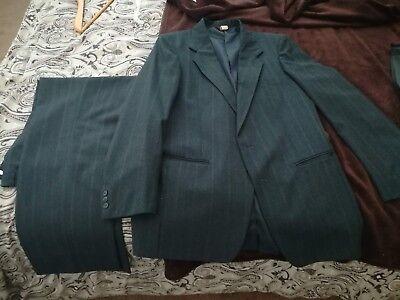 Vintage Farah Men's 2 piece BLUE Suit Coat Jacket Blazer 40 L 32W 30L Pants (Farah Vintage Usa)