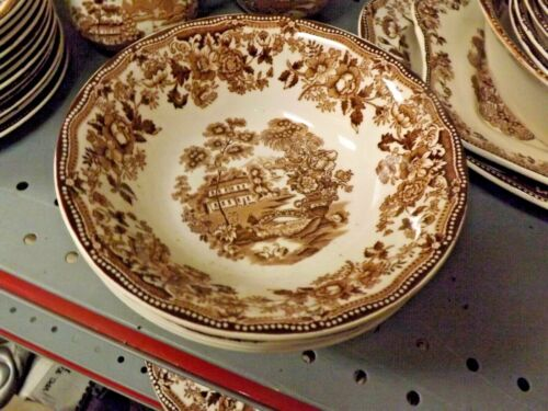 ROYAL STAFFORDSHIRE ENGLAND BROWN TONQUIN 4 CEREAL BOWLS 6""