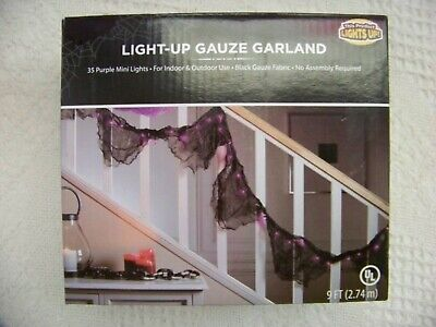 PURPLE GAUZE GARLAND LIGHT SET - 35 COUNT- 9 FT - NEW IN PKG.