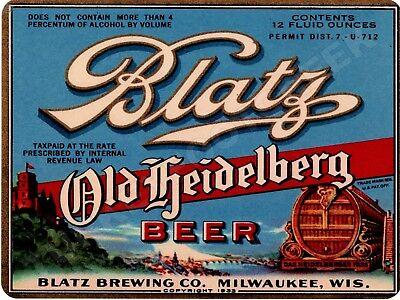 """BLATZ HEIDELBERG BEER  9"""" x 12"""" Sign"""