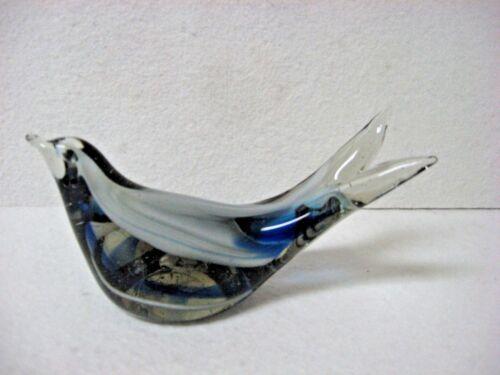 VTG  art glass sparrow bird split tail GRAY cobalt blue swirl inside Paperweight