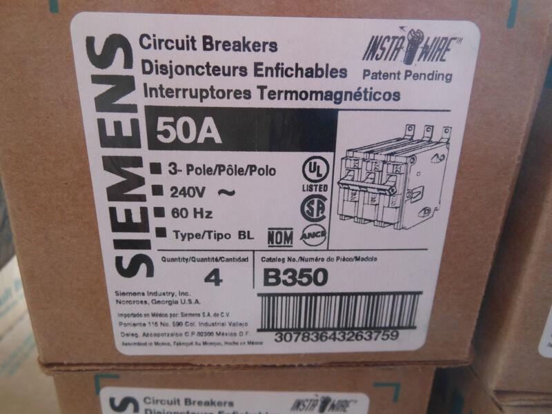 Siemens B350 circuit breaker 3pole 50amp 240v type BL New 1year Warranty! SALE