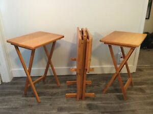 Set of Four Wooden Folding TV Tables with Stand $120 OBO