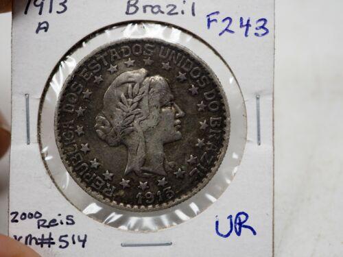 BRAZIL 2000 Reis 1913A - Silver - KM 514 # F 243