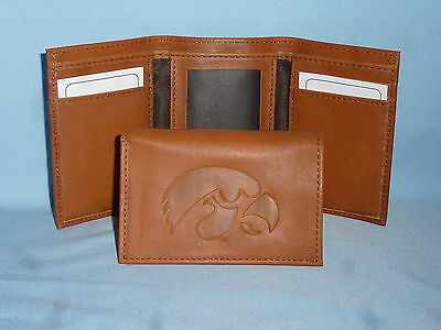 - IOWA HAWKEYES   Leather TriFold Wallet    NEW    brown 2