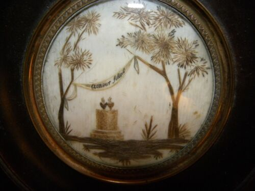 A FRAMED EXCEPTIONAL VICTORIAN MOURNING  HAIR ART & SYMBOLIC MEMORIAL PICTURE