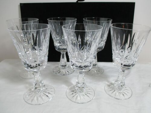"Waterford Glass Crystal Rosslare Claret Wine Goblets 6"" Set 6"