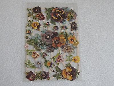 1x Poesiebilder Oblaten 279  Blumen Veilchen nostalgie stiefmütterchen Glanzbild