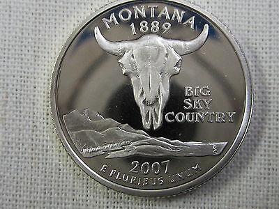 2007 S MONTANA STATE QUARTER   GEM PROOF DEEP CAMEO   90 SILVER