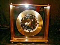 Seiko World Map Time Line Airplane Desk Mantle Clock