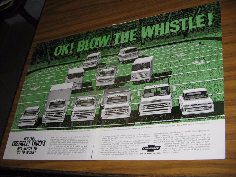 1963 Print Ad 1964 Chevrolet Trucks 11 Models Shown Chevy