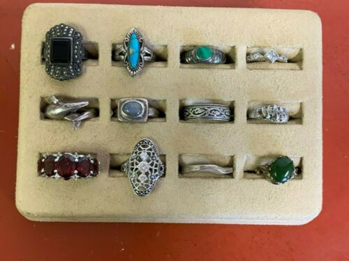 Lot of (12)  Sterling Silver Rings Sizes all  Under Size 7 Lot # 56