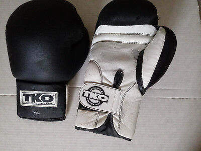 TKO Lightly Used  Technical Knockout All Purpose Black&White Boxing Gloves 16 oz
