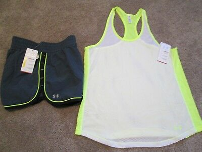 NEW Womens UNDER ARMOUR 2Pc RUNNING Outfit Tank+RUNNING Shorts XL FREE SHIP (Free Running Pc)