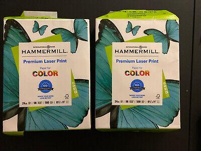 Hammermill Premium Laser Print 24lb Color Copy Paper 8.5x11 2 Reams 1000 Sheets