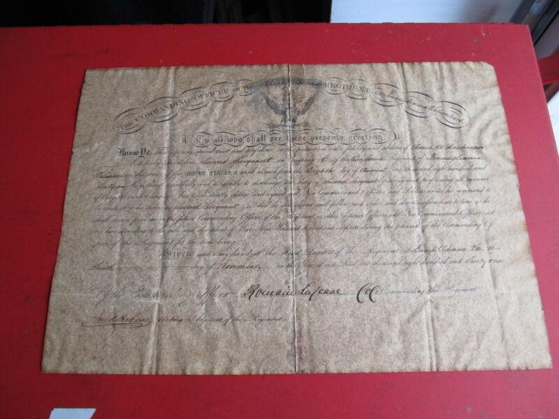 1861 Civil War Commission Document 32nd Reg