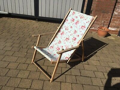 Garden Vintage Wooden Deck Chair Fabric