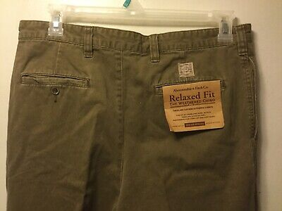 NWT Abercrombie & Fitch Relaxed Fit Weathered Chino Pants Green 36x30