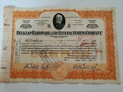 1930 Belknap Hardware & Manufacturing Company Cancelled Common Stock Certificate