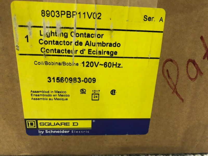 120 VAC Coil NEW! Square D 8903PBP11BV02 Panelboard Lighting Contactor 60 Amp