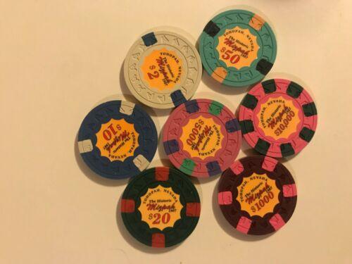 Mizpah Hotel Casino Error Chip Set Of  7 Tonopah Nevada