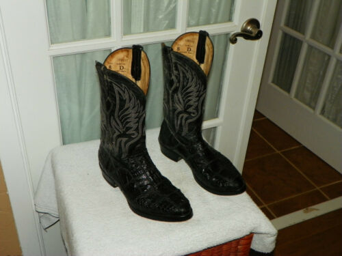 Vintage, Corral, Black, Exotic, Caiman, Belly, Patchwork, Cowboy, Boots, Mens, Size, 8, D