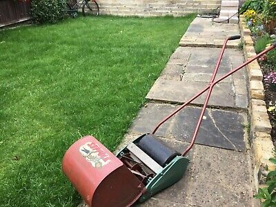 Vintage Suffolk Swift hand operated cylinder mower with grass box