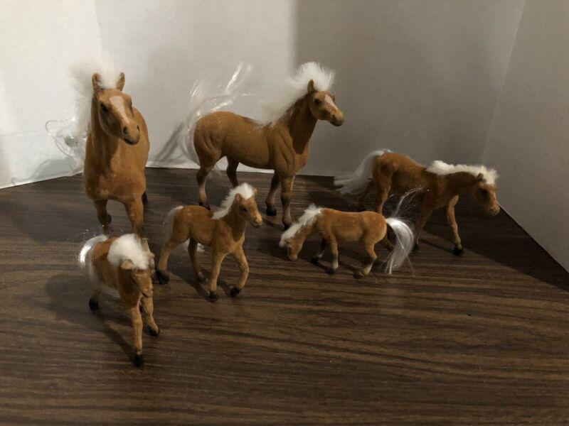 Vintage Flocked Horse Family
