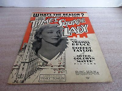 Vintage 1935~WHAT'S THE REASON? Sheet Music~TIMES SQUARE LADY~Irving Berlin