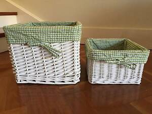 2 x white wicker baskets with green fabric inserts Greenwich Lane Cove Area Preview