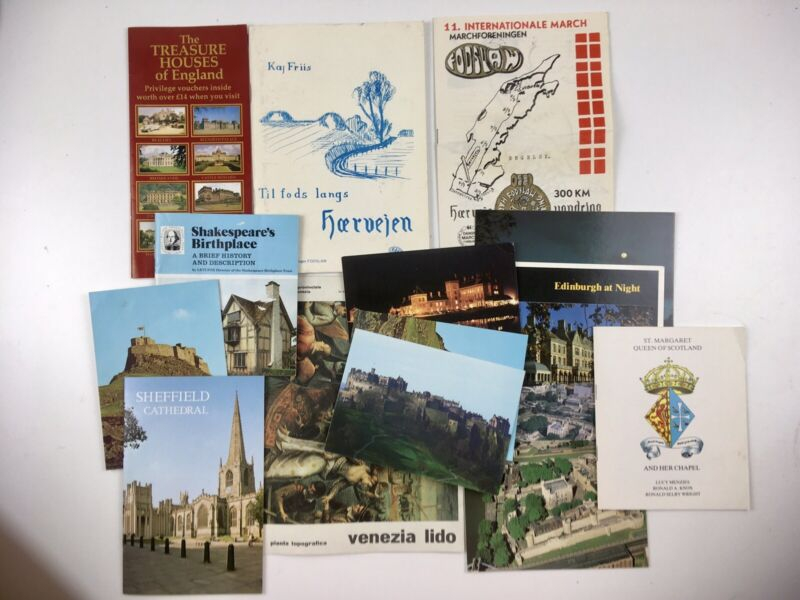 Assorted Vintage Travel Brochures Postcards Maps Denmark, UK, Venice 1980s