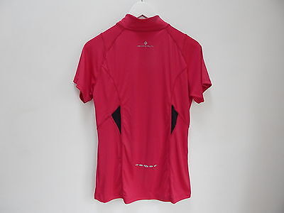 864e60a5fc3 Ronhill Ladies Short Sleeve Half Zip Tee Running Top - Raspberry Black -  Size 8