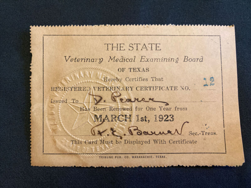 1923 State of Texas Veterinary Medical Examining Board Certificate Card