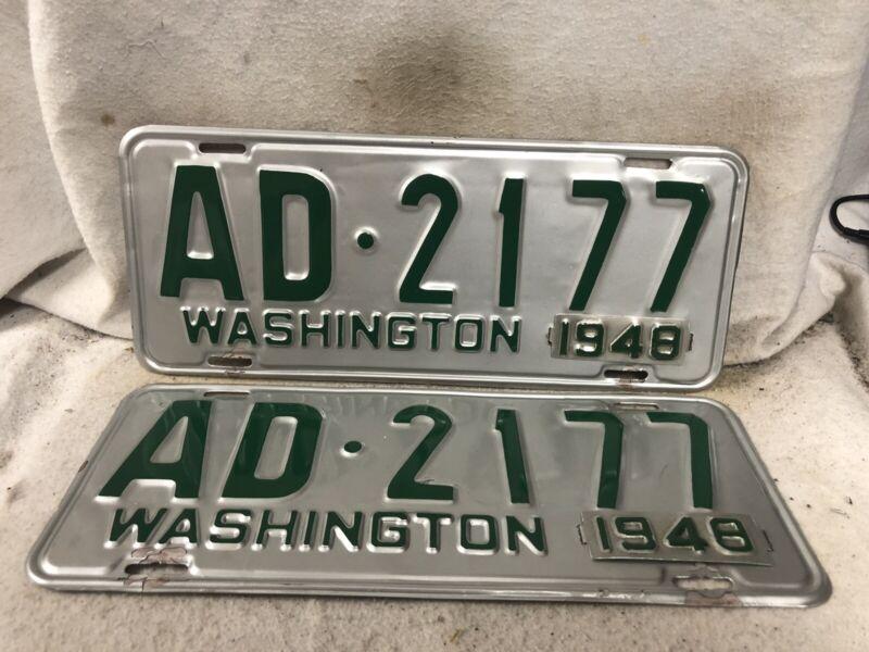 Vintage 1948 Washington License Plate Pair