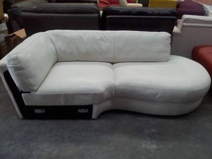New Freedom white leather chaise/end section Milperra Bankstown Area Preview