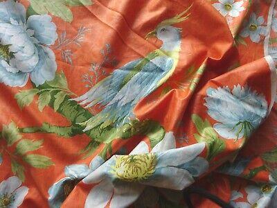 Vintage Cotton Jab Stoffe Fabric 'Ramona' Orange Birds of Paradise 40