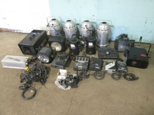 LOT OF (10) PROFESSIONAL ASSORTED STAGE LIGHTS + STROBES, LASER & FOGGER MACHINE