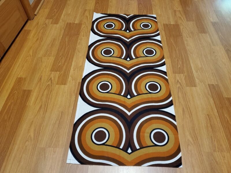 Awesome RARE Vintage Mid Century retro 70s brown whit owl eyes loop lrg fabric!