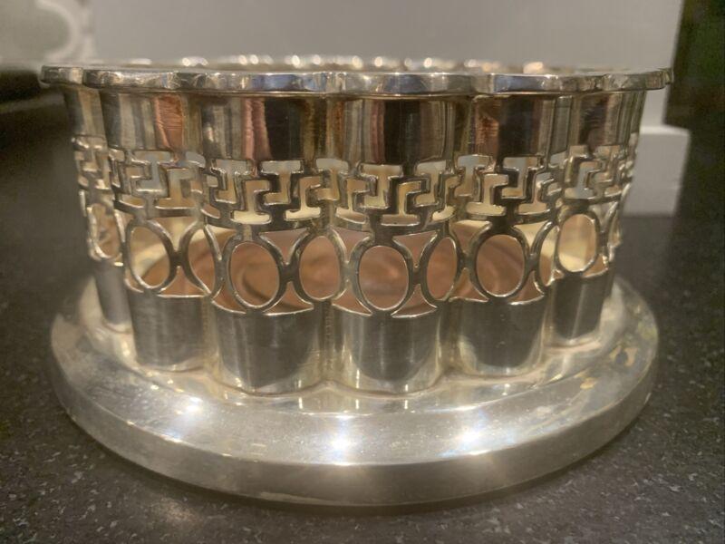 Rare Vintage Mottahedeh Silver and Wood Wine Coaster Historic Natchez Foundation