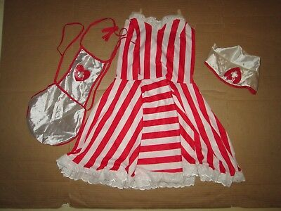 Womens NURSE CANDY STRIPER cute sexy Halloween Costume sz 7 - 9 juniors  - Striper Halloween Costume